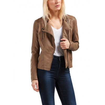Ava Only Leather Look Jacket - Cognac